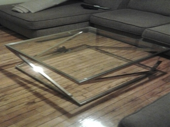 Kris' coffee table and sofa
